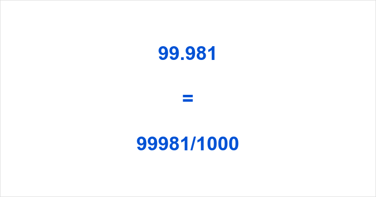 99.981 as a Fraction