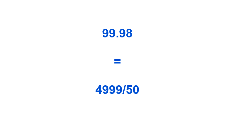 99.98 as a Fraction